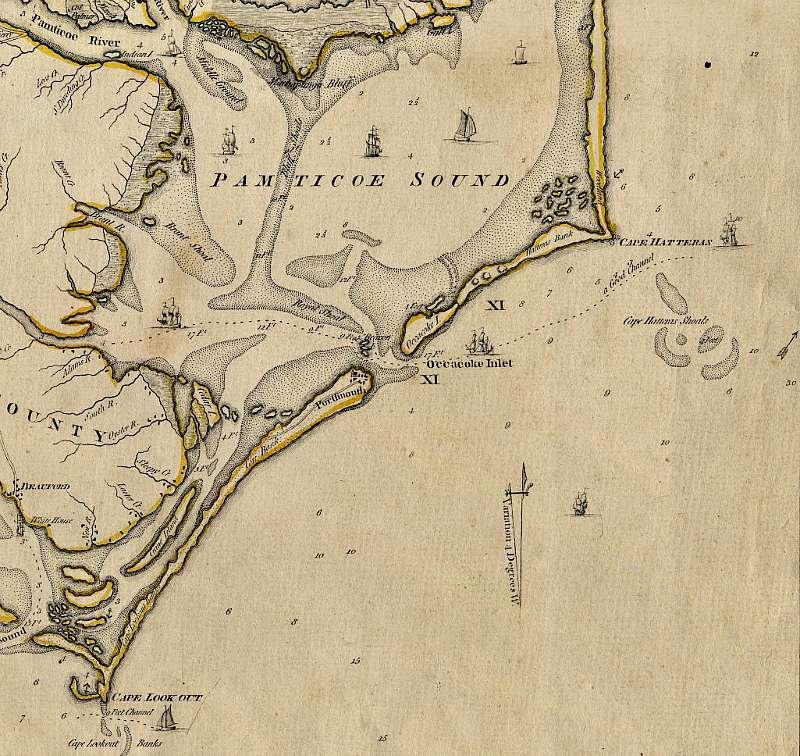 Mapa de la Ensenada de Ocracoke en 1775. (Wikimedia Commons)