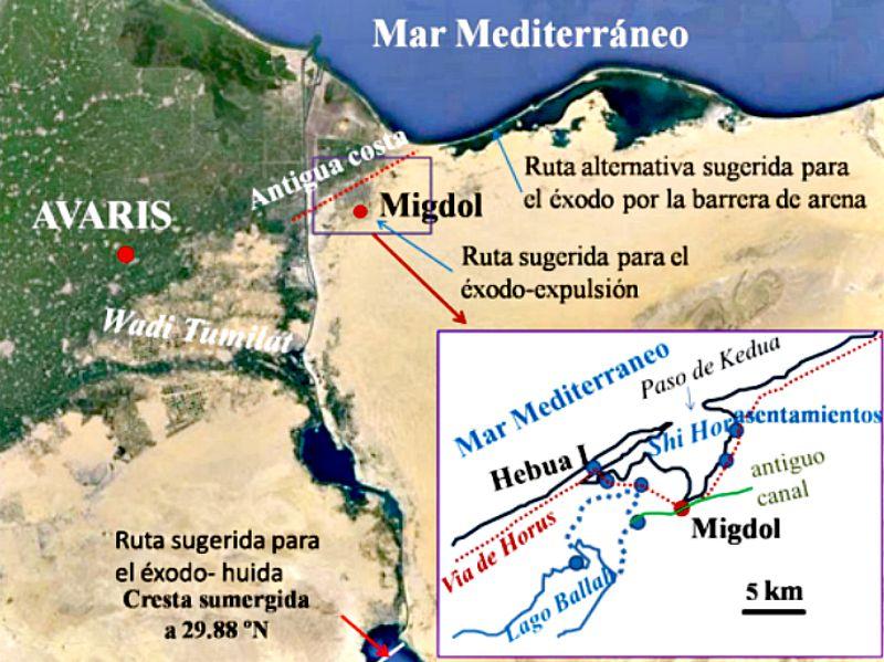 Posibles rutas seguidas por Moisés y el pueblo de Israel en su Éxodo bíblico, según las investigaciones de los expertos. (Imagen: US/SINC)