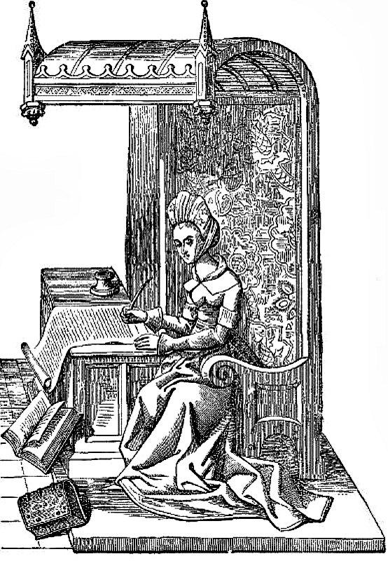 Christine sentada en un sillón de madera labrada con dosel, cubierto con un tapiz. Ilustración extraída de la miniatura de un manuscrito del siglo XV archivado en la Biblioteca Real de Bélgica, Bruselas. (Public Domain)
