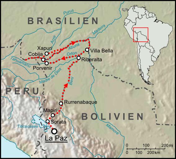 Mapa-Una de las rutas seguidas por Percy Fawcett (Wikimedia Commons)