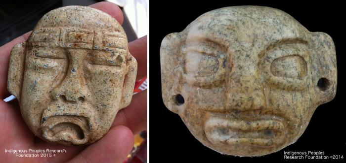 Colgantes de estilo Olmeca descubiertos en un riachuelo cercano a donde se encontró la espada votiva China.