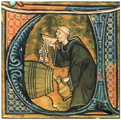 Monje bebiendo a escondidas en la bodega. Ilustración de una copia del 'Li livres dou santé' de Aldobrandino de Siena. (Wikimedia Commons)
