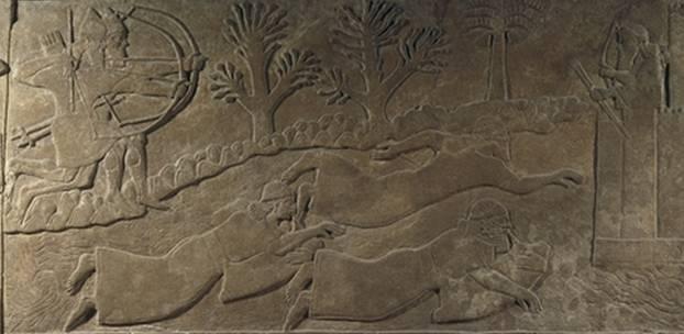 """""""Los enemigos huyen cruzando el río"""" relieve asirio del siglo IX a C - Museo Britanico"""