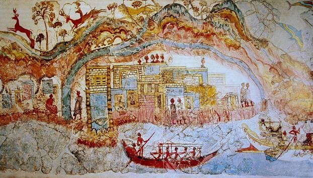 Elaborado y colorido fresco hallado en Akrotiri (Public Domain)