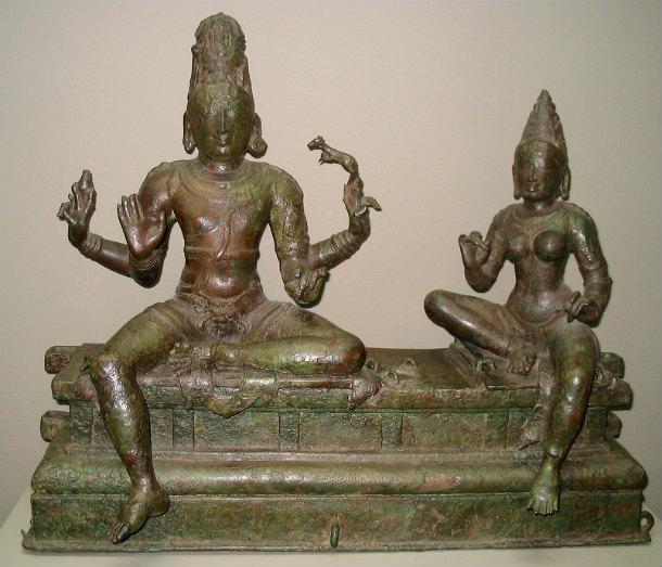 Shiva y Parvati, estatuilla de bronce de la dinastía Chola, siglo XII, la India, Galería Arthur M. Sackler de Washington (CC BY-SA 2.0)