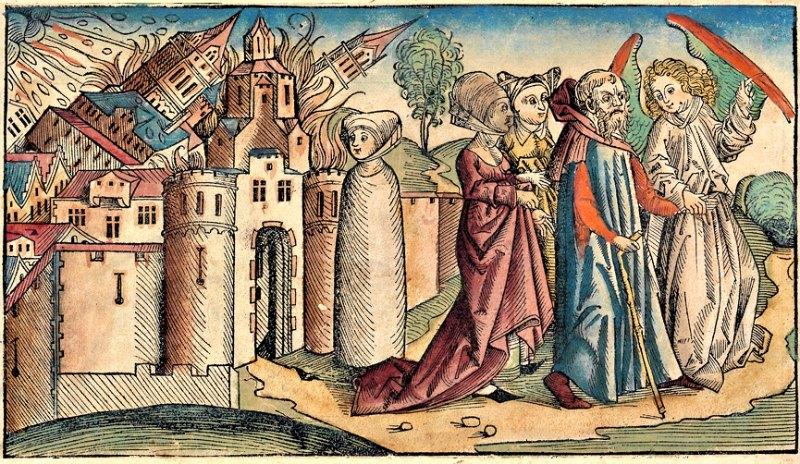 Los ángeles guían a Lot y a su familia fuera de Sodoma mientras su mujer queda convertida en estatua de sal al girarse a contemplar la destrucción de la ciudad, desobedeciendo el mandato divino. Grabado sobre madera perteneciente a las Crónicas de Nuremberg, obra de Hartmann Schedel (1493). (Public Domain)