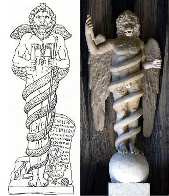"""Izquierda; Dibujo de la """"leontocefalina"""" hallada en un Mithraeum en Ostia Antica, Italia. (Dominio público) derecho; Leontocefalina, en el Museo del Vaticano. (CC0)"""