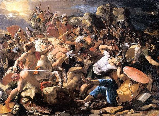 """Victoria de Josué sobre los Amorreos"", pintura Poussin c.1625-1626. Public Domain"