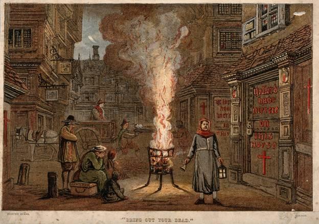 """""""Saque a su muerto"""". Una calle de Londres, durante la Gran Peste de 1665-Wellcome Images"""