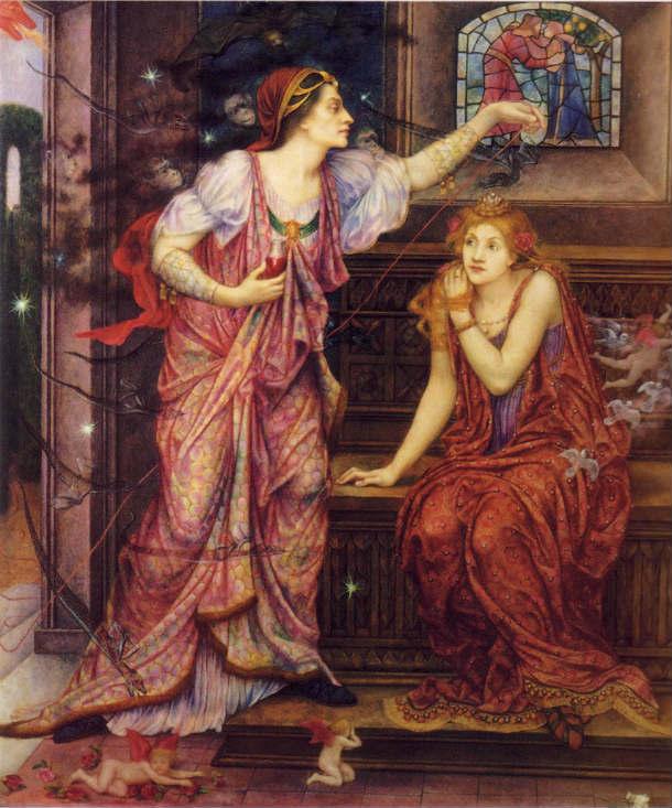La Reina de Aquitania y Rosamund Clifford, pintado por Evelyn Morgan en 1905 (Wikimedia Commons)