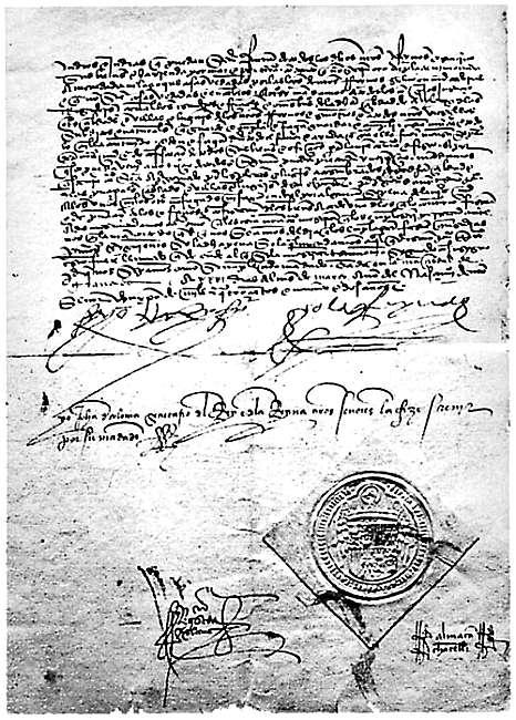Copia sellada del Decreto de la Alhambra (Wikimedia Commons)