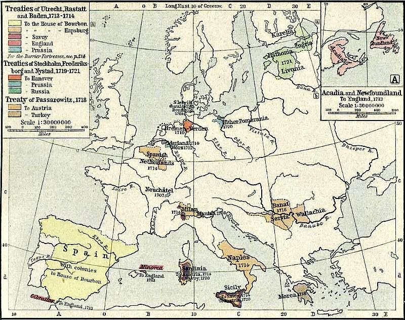 Mapa político de Europa tras la firma del Tratado de Utrecht. (Wikimedia Commons)