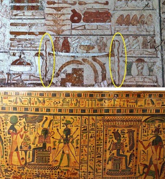 Arriba: Representación de varitas / bastones de serpiente de cobre, de la Capilla de la Tumba del Visir Rekhmire, ~ 1450 a. C., Tebas. (Osirisnet) Abajo: ataúd pintado de Padu-amen del Reino Medio, que muestra muchos dioses, incluyendo a Heka, la personificación de la magia, sosteniendo cuatro serpientes, protegiendo a Osiris en este trono. (kimbellart.com)