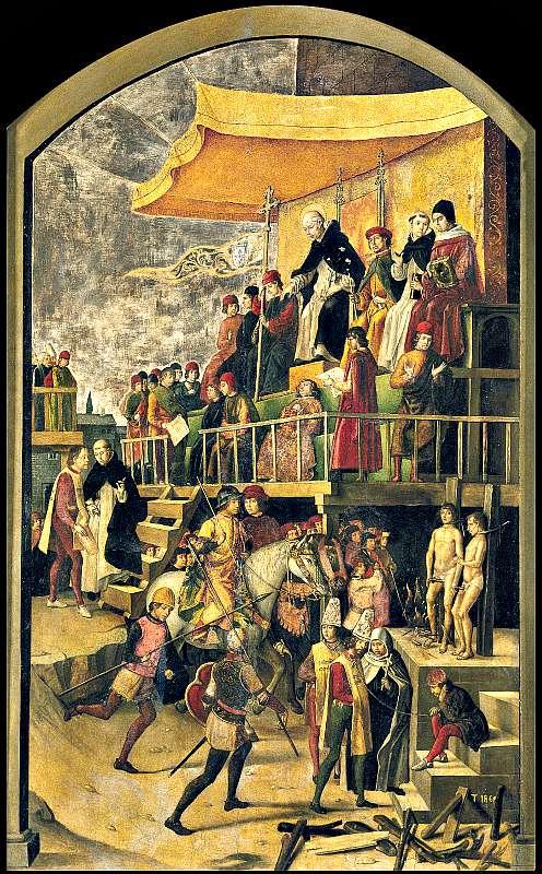 """""""El auto de fe"""", obra Pedro de Berruguete. (Wikimedia Commons)"""