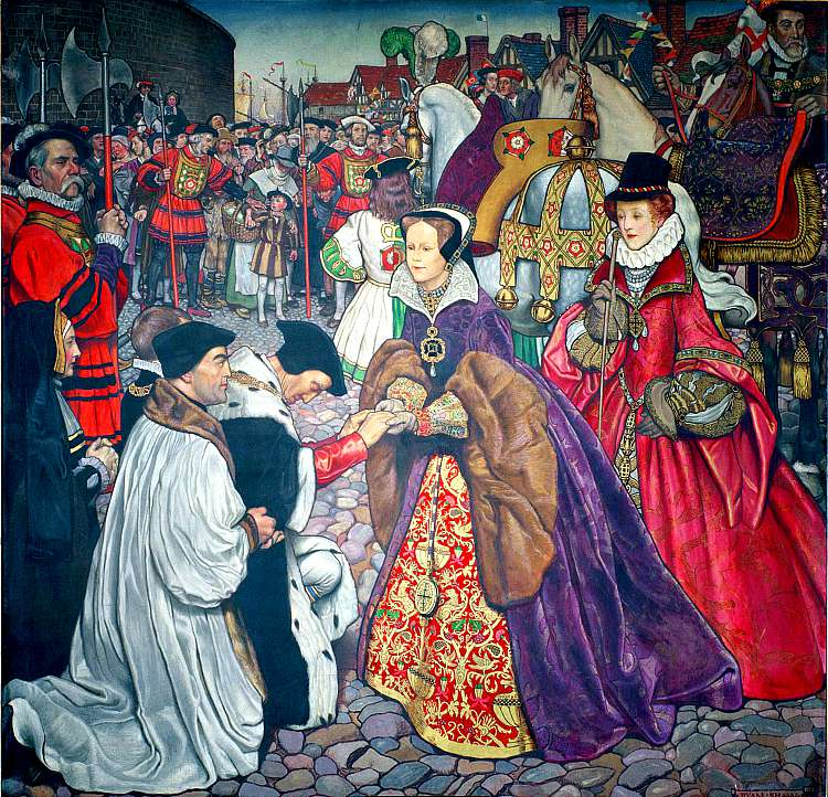 María I de Inglaterra hace su entrada en Londres para tomar posesión del trono en 1553, acompañada de su hermana Isabel, vestida de rojo por detrás de ella. Óleo sobre lienzo de Bryam Shaw, Palacio de Westminster. (Wikimedia Commons)