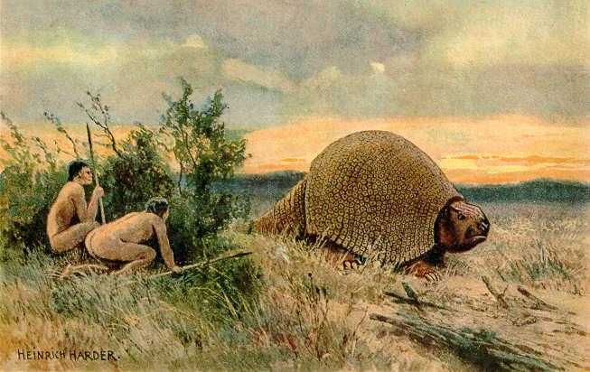 Ilustración de paleoindios cazando un glyptodon, animal cuya extinción supuestamente fue provocada por la llegada del ser humano a Sudamérica. (Heinrich Harder, 1920) (Wikimedia Commons)