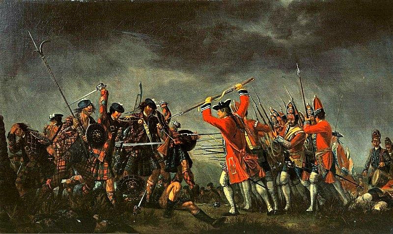 En su lucha contra los jacobitas, en 1692, las tropas del rey Guillermo, situadas en el castillo, lo hicieron volar por los aires con tal de que no fuera ocupado por el enemigo. Batalla de Culloden. Óleo de David Morier (1746). (Public Domain)