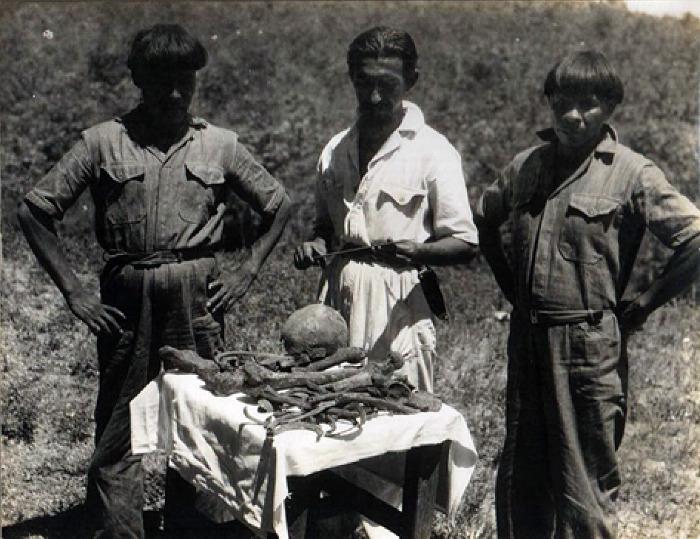 Orlando Villas Boas con dos Indios Kalapalo junto con los supuestos huesos del Coronel Fawcett. 1952 (Wikimedia Commons)