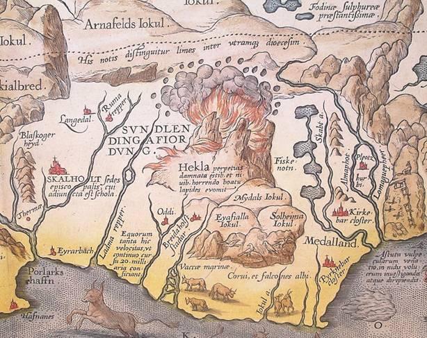 Detalle del mapa de Islandia de 1585 obra de Abraham Ortelius en el que podemos ver al Hekla en erupción.(Public Domain)