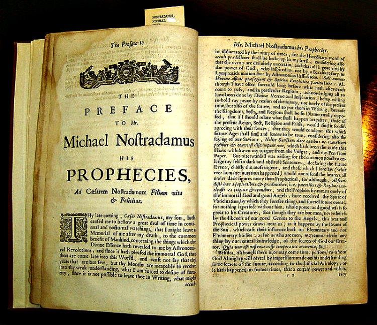 Ejemplar de la edición de 1672 de la traducción inglesa de las Profecías de Nostradamus. Biblioteca del Centro de Ciencias de la Salud de San Antonio, perteneciente a la Universidad de Texas, Estados Unidos. (Public Domain)