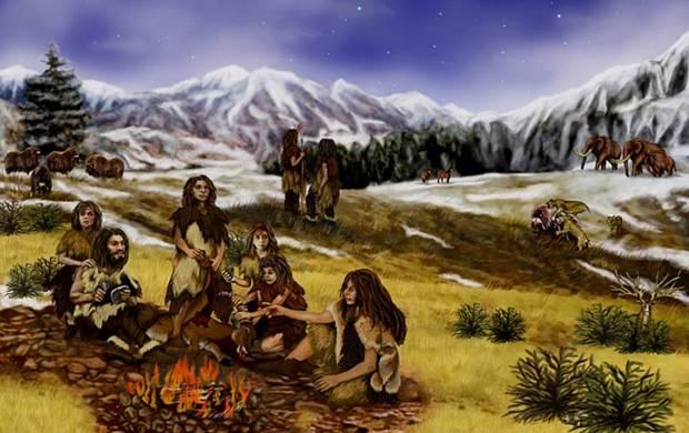 Una familia de Neanderthales en Eurasia, durante el Pleistoceno (Wikimedia Commons)
