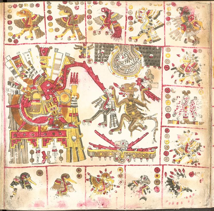 Página perteneciente al prehispánico Códice Borgia, en la que se muestran dibujos del dios Sol (Wikimedia Commons)