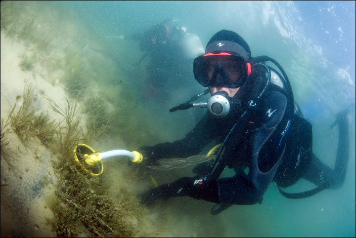'El equipo de la expedición llevó a cabo las excavaciones utilizando una bomba hidráulica, detectores de metales y otros aparatos.'  Fotos: Dmitry Gorn
