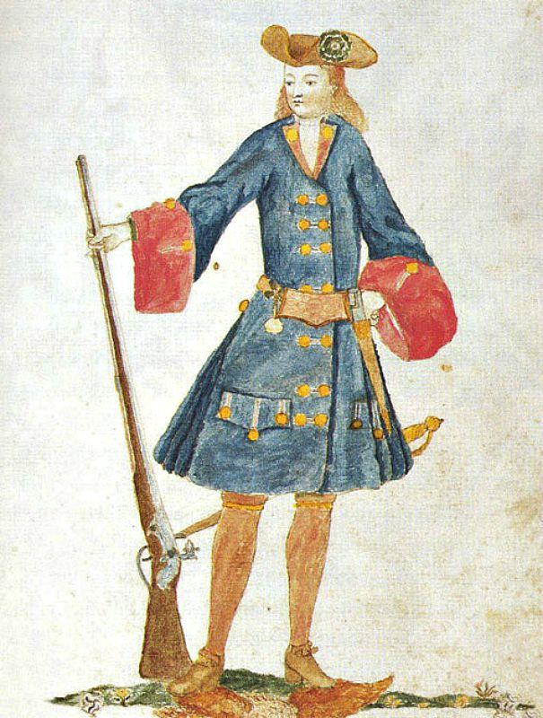 Miliciano de la Coronela de Barcelona, perteneciente a la compañía de los Plateros. Gaspar Ferrán, 1707. Biblioteca de Cataluña (Wikimedia Commons)