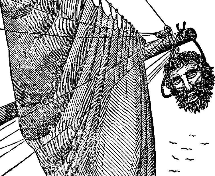 La cabeza de Barbanegra fue colgada en el bauprés de uno de los barcos al arribar Maynard a Virginia. (Wikimedia Commons)