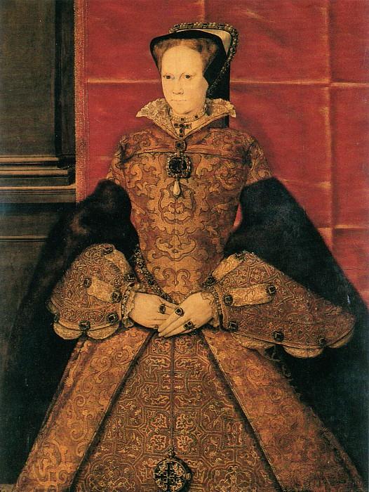 Retrato de María I de Inglaterra, óleo sobre panel de roble pintado en 1554 por Hans Eworth (Public Domain)