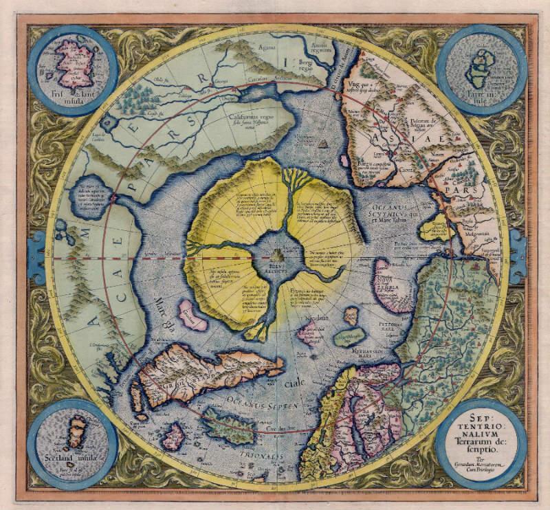 El continente ártico o Hyperborea tal y como aparece en le Atlas de Gerardus Mercator de 1595 (Public Domain)