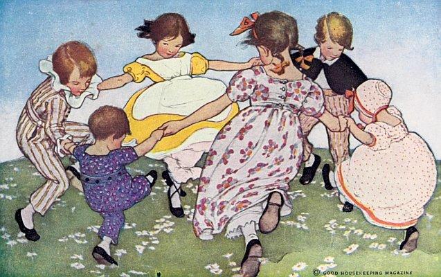 Corro en torno a las rosas (1912) J. Willcox Smith (Wikimedia Commons)