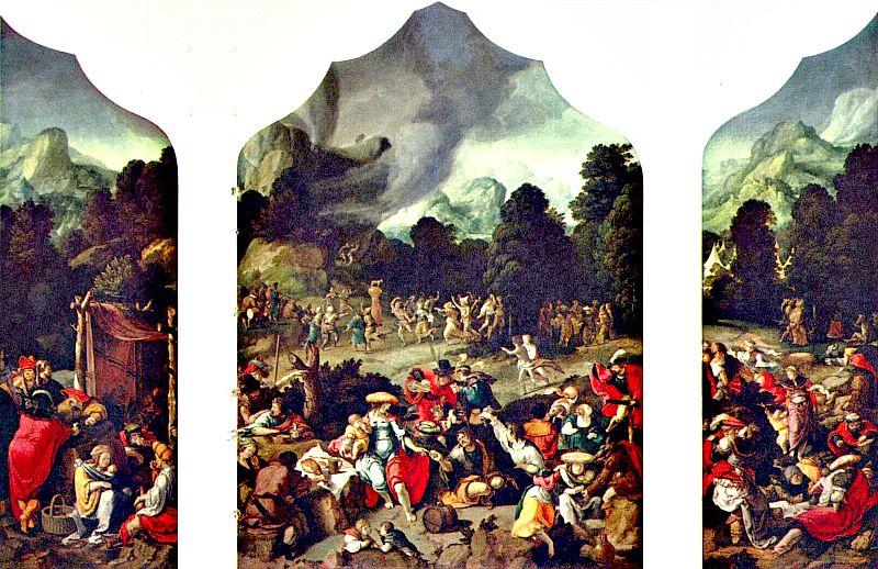 """Tríptico de """"El becerro de oro"""", obra de Lucas van Leyden. (Wikimedia Commons)"""
