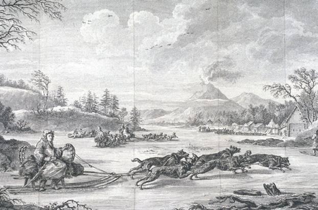 Un hombre lleva las riendas de un trineo tirado por perros. Al fondo, se puede ver un volcán en erupción que se cree que es el Tolbachik (Kamchatka). 1790