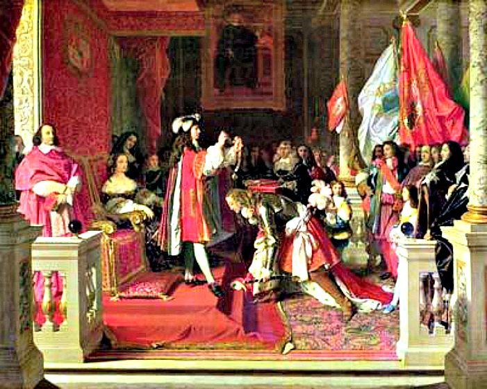 Felipe V de España condecorando con el Toisón de Oro a James Fitz-James, Duque de Berwick, de Liria y Jérica, después de la Batalla de Almansa. Cuadro de Ingres, 1818. Palacio de Liria, Madrid. (Wikimedia Commons)
