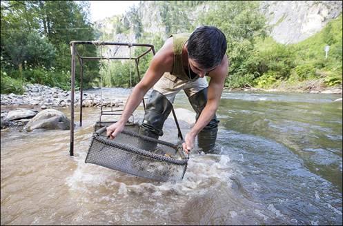 Punto de lavado a orillas del rio Anui