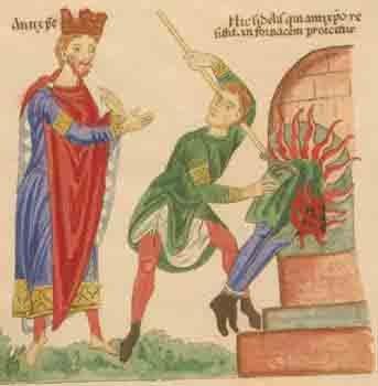 El Anticristo, a la izquierda, se muestra con los atributos de un rey, muchos de los cuales fueron vistos como codiciosos y malvados a lo largo de los siglos. (Dominio público)