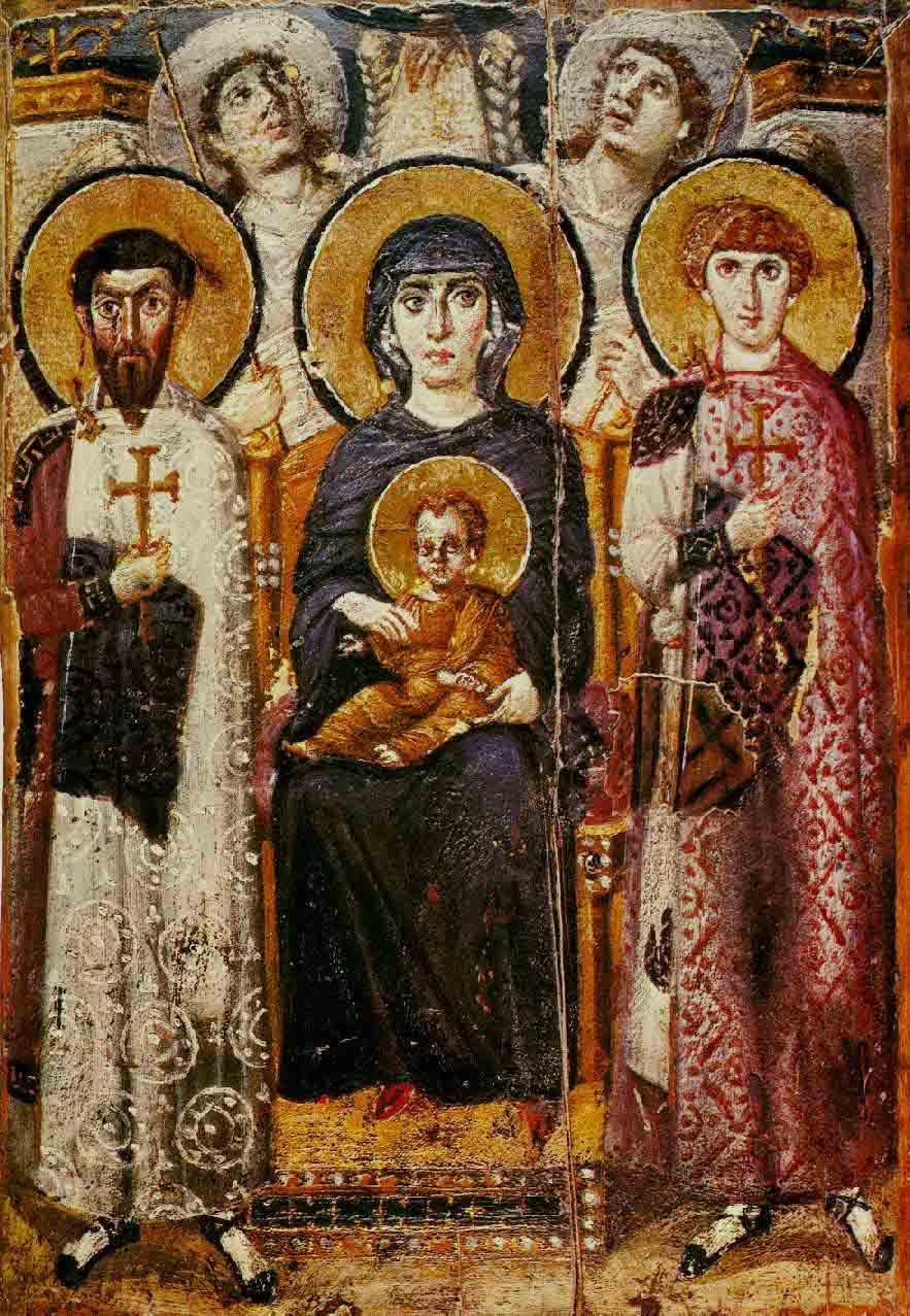 Icono de la Virgen María entronizada y Jesús rodeado de santos y ángeles del siglo VI d.C., que es una obra de arte especialmente importante en el Monasterio de Santa Catalina en el Sinaí. (Dominio público)