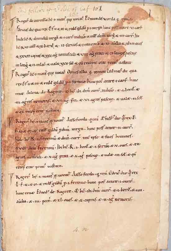 Página en el Exon Domesday. (Biblioteca de la Catedral de Exeter / CC BY 4.0)