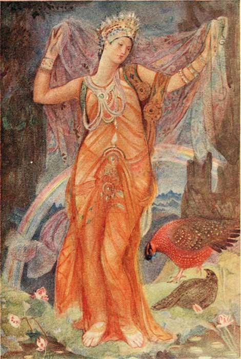 Una ilustración moderna que representa el descenso de Inanna-Ishtar al inframundo, algunos creen que ella es la entidad representada en el relieve de Burney. (Fæ / Dominio Público)