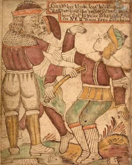 Ilustración islandesa del siglo XVIII que muestra a Baldur siendo asesinado por su hermano ciego Hod. Jakob Sigurðsson