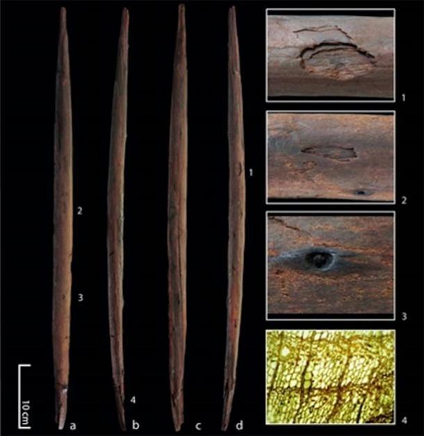 """El """"palo asesino"""" del sitio de Schöningen en Alemania con cuatro vistas del artefacto y detalles que muestran marcas de impacto. (Eberhard Karls Universität Tübingen)"""