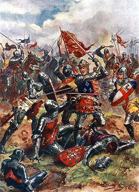 El rey Enrique V, en la batalla de Agincourt, usa las armas reales de Inglaterra, acuarteladas con la flor de lis de Francia como símbolo de su reclamo al trono de Francia. (Richard Cœur de Lion / Dominio público)