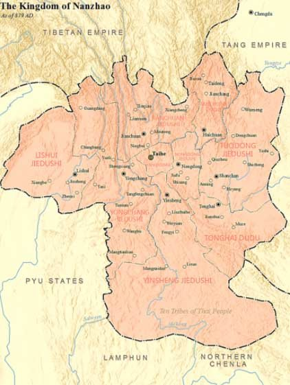 Reino de Nanzhao a partir del 879 d.C. (SY / CC BY-SA 4.0)