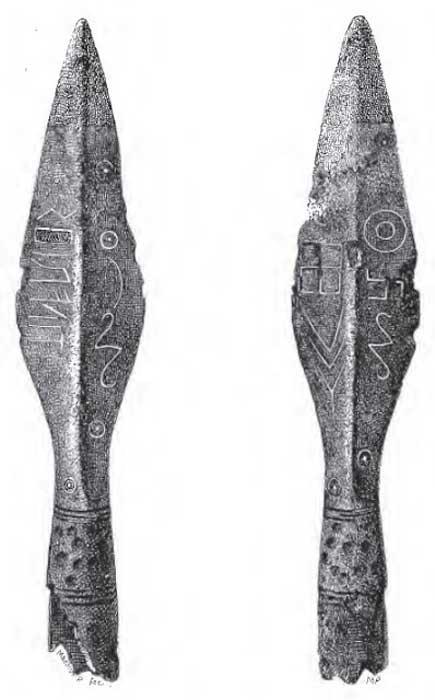 Los símbolos de la punta de lanza de Kovel. (Mark David)