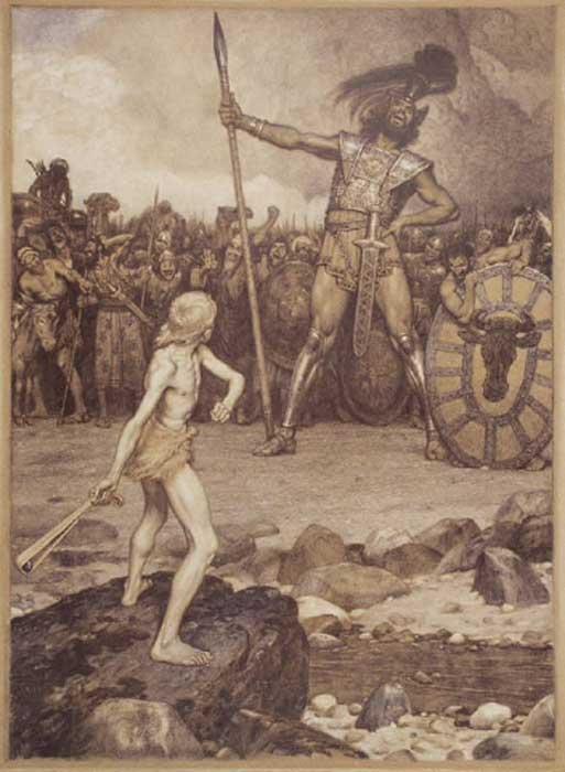 Una ilustración de la batalla de David y Goliat por Osmar Schindler, 1888 (Dominio público)