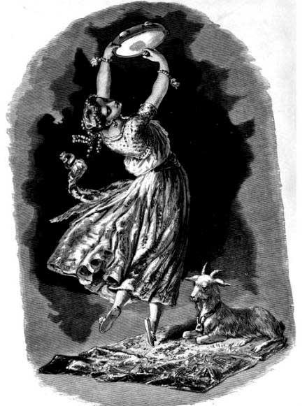 """La Esmeralda. Ilustración para Notre Dame de Paris de Víctor Hugo. Artista desconocido. Aparece en """"Víctor Hugo y su tiempo"""" de Alfred Barbou. 1882. (Dominio público)"""