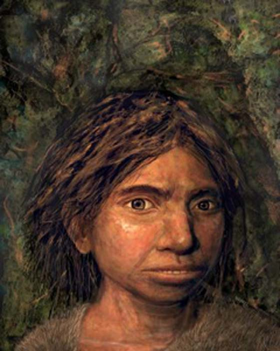 La representación de una artista muestra el primer retrato de una mujer denisovana, recreado a partir de una antigua muestra de ADN. (Maayan Harel)