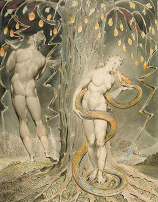La tentación y la caída de Eva, ilustración de 1808 de ton Paradise Lost 'de Milton. (DcoetzeeBot / Dominio público)
