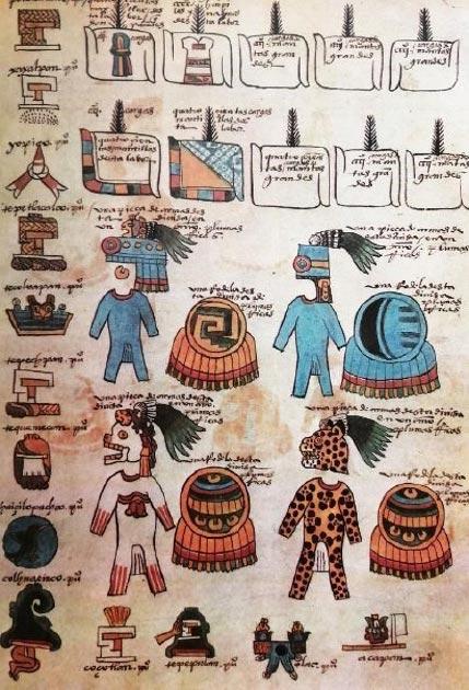 Lámina 4 de la Matrícula de Tributos correspondiente a la lámina 20 r. del Códice Mendoza. Se muestran indumentarias militares, mantas y más/ (foto proporcionada por el autor)